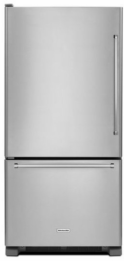 "KRBL109ESS KitchenAid 19 Cu. Ft. 30"" Full Depth Non Dispense Bottom Mount Refrigerator - Left Hinge - Stainless Steel"