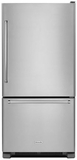 "KRBR102ESS KitchenAid 22 cu.ft. 33"" Full Depth Non Dispense Bottom Mount Refrigerator - Right Hinge - Stainless Steel"