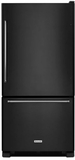 "KRBX109EBL KitchenAid 19 Cu. Ft. 30"" Full Depth Non Dispense Bottom Mount Refrigerator - Right Hinge - Black"