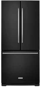 "KRFF300EBL KitchenAid 20 Cu. Ft. 30"" Width Standard Depth French Door Refrigerator with Interior Dispense - Black"