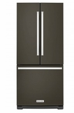 "KRFF300EBS KitchenAid 20 Cu. Ft. 30"" Width Standard Depth French Door Refrigerator with Interior Water Dispenser and LED Lighting - Black Stainless Steel"