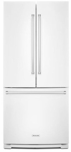 "KRFF300EWH KitchenAid 20 Cu. Ft. 30"" Width Standard Depth French Door Refrigerator with Interior Dispense - White"