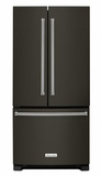 "KRFF302EBS KitchenAid 22 Cu. Ft. 33"" Width Standard Depth French Door Refrigerator with Interior Dispense - Black Stainless Steel"