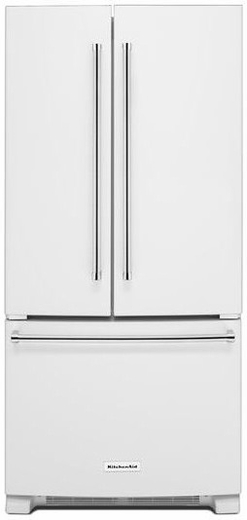 "KRFF302EWH KitchenAid 22 Cu. Ft. 33"" Width Standard Depth French Door Refrigerator with Interior Dispense - White"