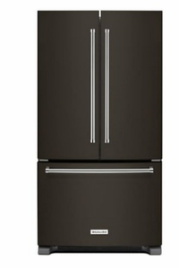 "KRFF305EBS KitchenAid 25 Cu. Ft. 36"" Standard Depth French Door Refrigerator with Interior Dispense and LED Lighting - Black Stainless Steel"