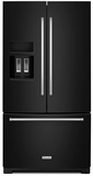"KRFF507EBL KitchenAid 26.8 cu.ft. 36"" Standard Depth French Door Refrigerator with Exterior Ice and Water - Black"