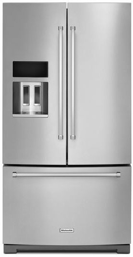 "KRFF507ESS KitchenAid 26.8 cu.ft. 36"" Standard Depth French Door Refrigerator with Exterior Ice and Water - Stainless Steel"