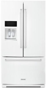 "KRFF507EWH KitchenAid 26.8 cu.ft. 36"" Standard Depth French Door Refrigerator with Exterior Ice and Water - White"