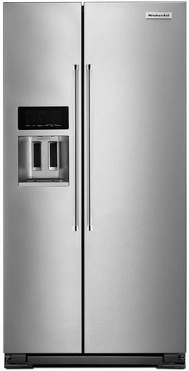 "KRSC503ESS KitchenAid 22.7 Cu. Ft. Counter Depth 36"" Side-by-Side Refrigerator with Exterior Ice and Water - Stainless Steel"