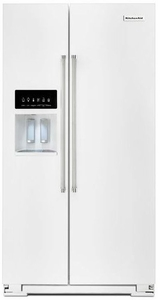 KRSF505EWH KitchenAid 24.8 Cu. Ft. Standard Depth Side-by-Side Refrigerator with Exterior Ice and Water - White
