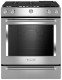"KSDB900ESS KitchenAid 7.1 Cu. Ft. 30"" Dual Fuel 5 Burner Convection Slide-In Range with Baking Drawer - Stainless Steel"