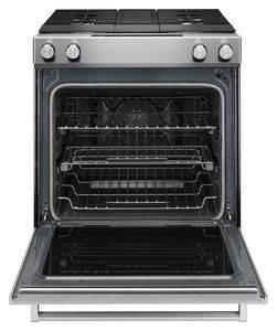 KSDG950ESS KitchenAid 30-Inch 4-Burner Dual Fuel Downdraft Slide-In Range - Stainless Steel