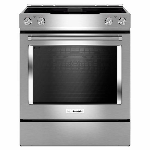 KSEG950ESS KitchenAid 30-Inch 4-Element Electric Downdraft Slide-In Range - Stainless Steel