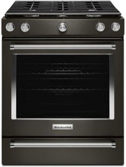 """KSGG700EBS KitchenAid 5.8 Cu. Ft. 30"""" Gas 5 Burner Slide-in Convection Range with Aqualift and Glass Touch Controls - Black Stainless Steel"""