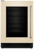 "KUBL204EPA KitchenAid 24"" Beverage Center with UV-Protected Thermal Glass Door - Left Hinge - Custom Panel"