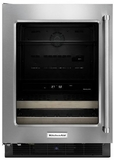 "KUBL204ESB KitchenAid 24"" Beverage Center with Glass Door and Wood-Front Racks - Left Hinge - Stainless Steel"