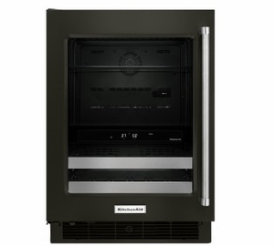 """KUBL304EBS KitchenAid 24"""" Beverage Center with SatinGlide Metal Front Racks and Touch Controls - Left Hinge - Black Stainless Steel"""