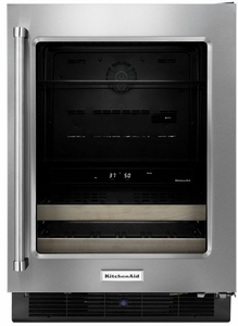 "KUBR204ESB KitchenAid 24"" Beverage Center with Glass Door and Wood-Front Racks - Right Hinge - Stainless Steel"