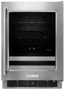 """KUBR304ESS KitchenAid 24"""" Beverage Center with SatinGlide Metal-Front Racks - Right Hinge - Stainless Steel"""