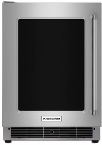 """KURL304ESS KitchenAid 24"""" Undercounter Refrigerator with Glass Door and Metal Trim Shelves - Left Hinge - Stainless Steel"""