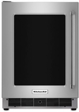 "KURL304ESS KitchenAid 24"" Undercounter Refrigerator with Glass Door and Metal Trim Shelves - Left Hinge - Stainless Steel"