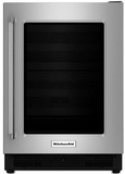 "KURR204ESB KitchenAid 24"" Undercounter Refrigerator with UV Protected Glass Door - Right Hinge - Stainless Steel"