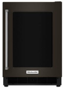 "KURR304EBS KitchenAid 24"" 5.1 Cu. Ft. capacity Undercounter Refrigerator with Touch Controls and UV-Protected Thermal Glass Door - Right Hinged - Black Stainless Steel"
