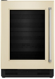 "KUWL204EPA KitchenAid 24"" Wine Cellar with Glass Door and Wood-Front Racks - Left Hinge - Custom Panel"