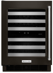 """KUWL304EBS KitchenAid 24"""" Dual Zone Wine Cellar with 46 Wine Bottle Capacity and SatinGlide Metal-Front Racks - Left Hinged - Black"""