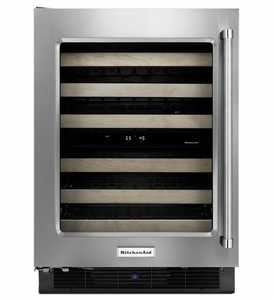 "KUWL304ESS KitchenAid 24"" Wine Cellar with Glass Door (Left Hinge) and Metal-Front Racks - Stainless Steel"