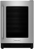 "KUWR204ESB KitchenAid 24"" Wine Cellar with Glass Door & Wood Front Racks - Right Hinge - Stainless Steel"