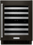"KUWR304EBS KitchenAid 24"" Dual Zone Wine Cellar with 46 Wine Bottle Capacity and SatinGlide Metal-Front Racks - Right Hinged - Black"