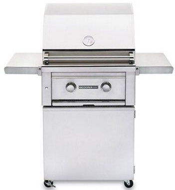 """L400PSFNG Lynx Sedona 24"""" Natural Gas Freestanding Grill with 1 Stainless Steel Burners and Blue LED Lights - Stainless Steel"""
