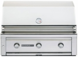 """L600LP Sedona by Lynx 36"""" Built-In Grill with 891 sq. in. Grilling Area, 3 Stainless Steel Burners, 69,000 BTU's and Temperature Gauge - Liquid Propane - Stainless Steel"""