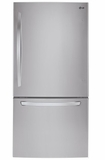 """LDCS24223S LG 33"""" Wide Bottom Freezer Refrigerator with LED Lighting and 24 Cu. Ft. - Stainless Steel"""