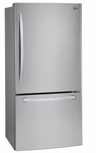 "LDCS24223S LG 33"" Wide Bottom Freezer Refrigerator with LED Lighting and 24 Cu. Ft. - Stainless Steel"