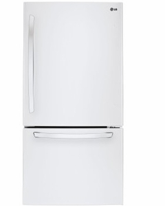 "LDCS24223W LG 33"" Wide Bottom Freezer Refrigerator with LED Lighting and 24 Cu. Ft. - White"