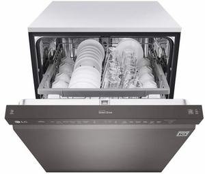 """LDF5545BD LG 24"""" Front Control Dishwasher with QuadWash and EasyRack Plus - Black Stainless Steel"""