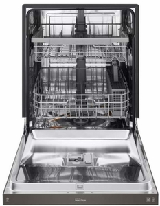 """LDF5545BD 24"""" LG Front Control Dishwasher with QuadWash and EasyRack Plus - Black Stainless Steel"""