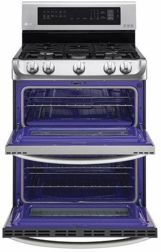 "LDG4313ST LG 30"" 6.9 Cu. Ft. Freestanding Gas Double Oven Range with Probake Convection - Stainless Steel"