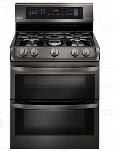 "LDG4315BD LG 30"" 6.9 Cu. Ft. Gas Double Oven Range With Probake Convection, Easyclean Express and Gliding Rack - Black Stainless Steel"