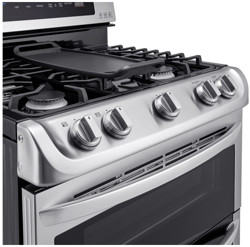 LDG4315ST LG 6.9 Cu. Ft. Gas Double Oven Range With Probake Convection, Easyclean Express and Gliding Rack - Stainless Steel