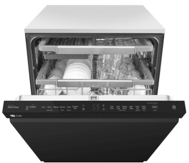 "LDP6797BB LG 24"" Fully Integrated QuadWash Dishwasher with 9 Wash cycles and SmartThinQ - Black"