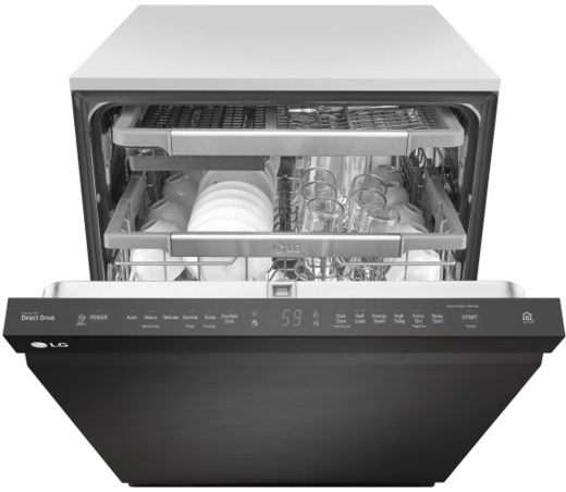 "LDP6797BM LG 24"" Top Control Dishwasher with QuadWash and EasyRack Plus - Matte Black Stainless Steel"
