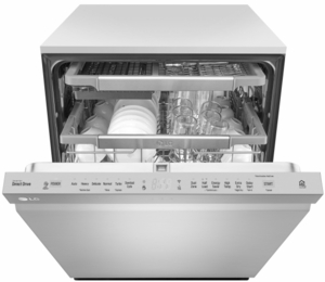 """LDP6797ST LG 24"""" Top Control Dishwasher with QuadWash and EasyRack Plus - Stainless Steel"""