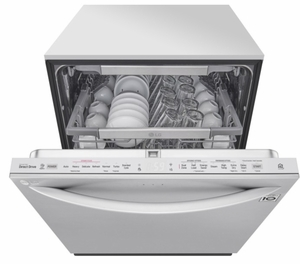 """LDT7808ST LG 24"""" Top Control Smart Wi-Fi Enabled  Dishwasher with QuadWash and TrueSteam - Stainless Steel"""