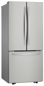 "LFCS22520S LG 30"" Super Capacity 3-Door French Door 21.8 cu. ft. Refrigerator with Smart Cooling System and Glide N' Server Drawer - Stainless Steel"
