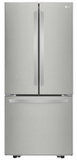 """LFCS22520S LG 30""""Super Capacity 3-Door French Door 21.8 cu. ft. Refrigerator with Smart Cooling System and Glide N' Server Drawer - Stainless Steel"""