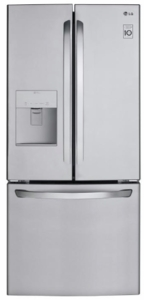 """LFDS22520S LG 30"""" 21.8 cu. ft. French Door Refrigerator with a Smart Cooling System and  Factory-Installed Ice Maker - Stainless Steel"""
