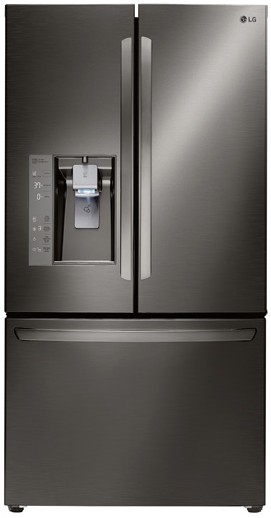 """LFXC24726D LG Diamond Collection 36"""" Ultra Capacity 24 Cu. Ft. French Door Refrigerator - Counter Depth - Black Stainless Steel"""